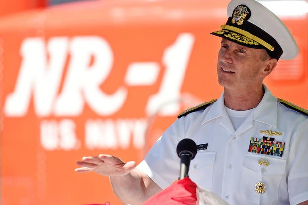Chief of Naval Operations U.S. Navy Adm. Jonathan Greenert delivers the keynote remarks at a dedication of an exhibit of artifacts from the submarine NR-1, June 24, 2015 at the Submarine Force Library and Museum. (Sean D. Elliot/The Day via AP)