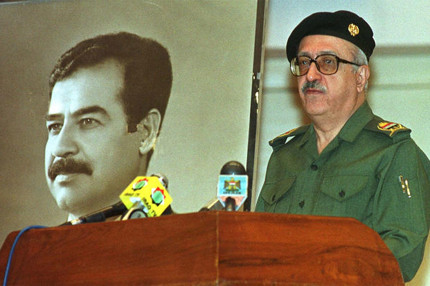In this April 15, 2000, file photo, Iraq's Deputy Prime Minister Tariq Aziz addresses journalists in Baghdad, where he said Iraq does not accept a new U.N. Security Council plan to resume weapons inspections in the country. AP Photo/Jassim Mohammed, File