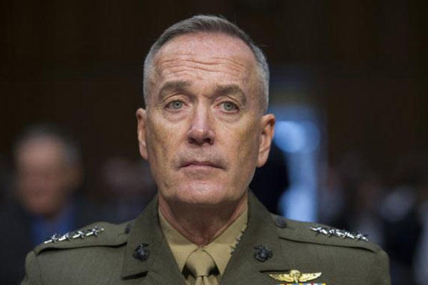 Marine Corps Commandant Gen. Joseph Dunford, Jr., testifies during his Senate Armed Services Committee confirmation hearing to become the Chairman of the Joint Chiefs of Staff, on Capitol Hill, Thursday, July 9, 2015 (AP Photo/Cliff Owen)