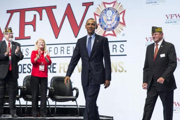 President Barack Obama arrives to deliver a speech at the 116th National Convention of the Veterans of Foreign Wars, on Tuesday, July 21, 2015, in Pittsburgh. (AP Photo/Evan Vucci)