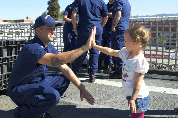 The crew of the Coast Guard Cutter Stratton is greeted by their families after returning home to Alameda, Calif., following a four-month deployment to the Eastern Pacific. (U.S. Coast Guard photo by Petty Officer 1st Class Michael Anderson)