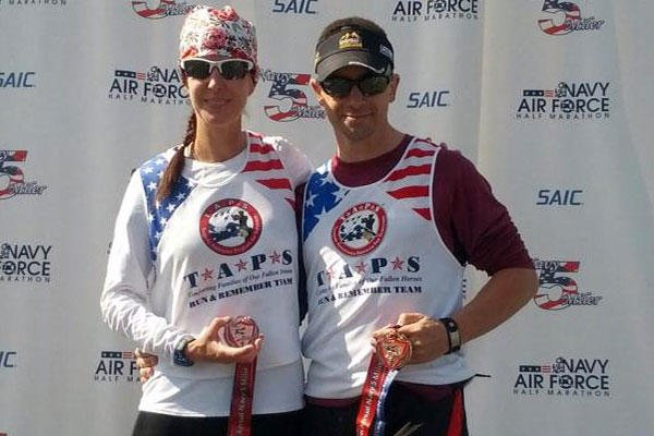 Col. Marc Hoffmeister and his wife, Gayle, win third place at the Navy 5-Miler. (U.S. Army photo)