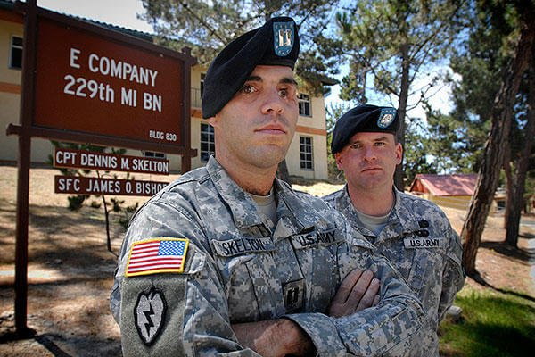 Prior to returning to command the 2nd Stryker Cavalry Regiment in Afghanistan, then-Army Capt. D.J. Skelton, left, is pictured with his first sergeant, Sgt. 1st Class James O. Bishop. (Courtesy photo)