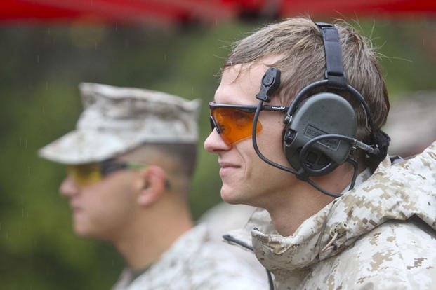 Cpl. David Dudley, Expeditionary Air Field, uses proper eye and ear protection during the 5th annual Combat Shooting Competition Oct. 28, hosted by Weapons Training Battalion aboard Marine Corps Base Quantico. (Marine Corps photo/ Ida Irby)