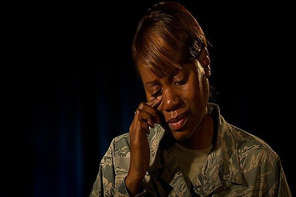 Master Sgt. Vickie Tippitt, a member of the 926th Force Support Squadron and the Nellis Air Force Base Yellow Ribbon representative, sheds a tear during an interview to discuss her rough childhood. (Courtesy photo)