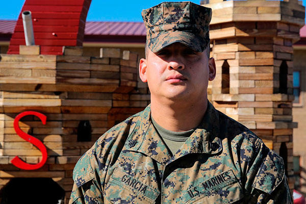 Marine Corps Sgt. Michel A. Garcia, a heavy equipment mechanic with 7th Engineer Support Battalion. (Marine Corps/Pvt. Robert Bliss)