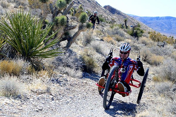 A recovering U.S. veteran rides his custom mountain bike as part of a Ride 2 Recovery program event Feb. 2, 2016, at Blue Diamond, Nev. (U.S. Air Force/Senior Airman Christian Clausen)