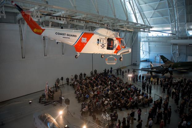 A U.S. Coast Guard HH-52A Seaguard helicopter is displayed during its induction ceremony into the Smithsonian's National Air and Space Museum in Chantilly, Va., April 14, 2016. (Photo: Petty Officer 2nd Class David R. Marin)
