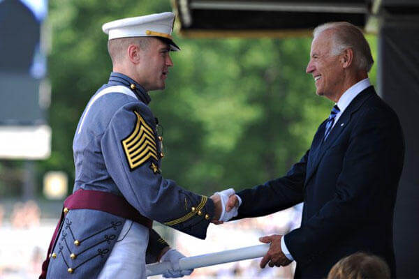 Vice President Joe Biden shakes hands with cadet First Captain Charles Phelps during graduation at the U.S. Military Academy in West Point, N.Y., May 26, 2012. (U.S. Army photo/Staff Sgt. Teddy Wade)