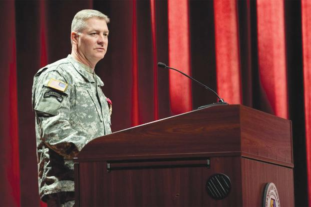 FILE -- Brig. Gen. David Haight speaks during a departure ceremony at Marshall Auditorium, Nov. 6, 2013. (Ashley Cross/Army)