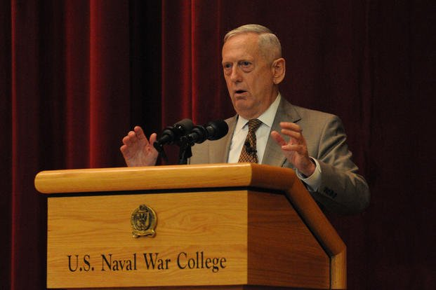 Retired U.S. Marine Corps Gen. James N. Mattis, former 11th commander of United States Central Command, speaks to U.S. Naval War College students, faculty and staff during a lecture of opportunity in Newport, R.I. (U.S. Navy photo by Ezra Bolender)