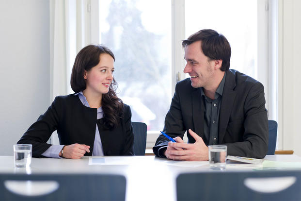 woman and man interviewing (Photo: Wikimedia Commons/HSGTalents)