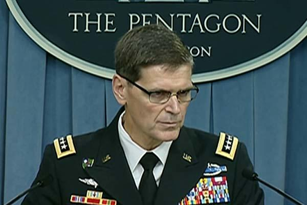 Army Gen. Joseph L. Votel, commander of U.S. Central Command, briefs reporters at the Pentagon, Aug. 30, 2016. (DoD Video Grab)