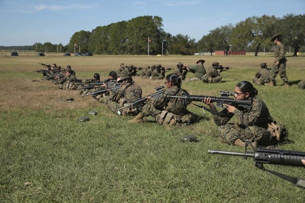 U.S. Marine Corps Recruits from Platoon 4045, N. Co., 4th Battalion, Recruit Training Regiment, practice sighting in on the range at Marine Corps Recruit Depot Parris Island, S.C., Oct. 24, 2016. (U.S. Marine Corps/Lance Cpl. Sarah Stegall)