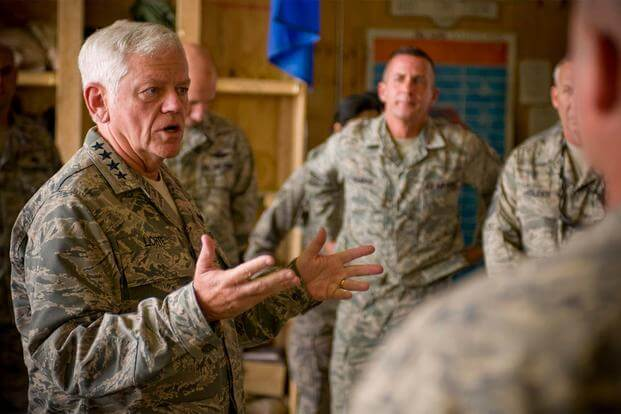 Gen. Arthur Lichte, Air Mobility Command commander, speaks to the Airmen of the C-130 Hercules Aircraft Maintenance Unit here Sept. 10, 2008. (U.S. Air Force photo by Staff Sgt. Samuel Morse)