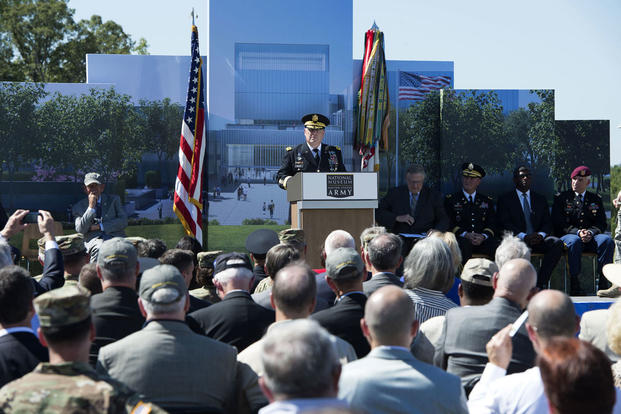 Chief of Staff of the Army Gen. Mark A. Milley speaks at the ceremony for the National Army Museum at Fort Belvoir, Virginia, Sept. 14, 2016. (U.S. Army photo)