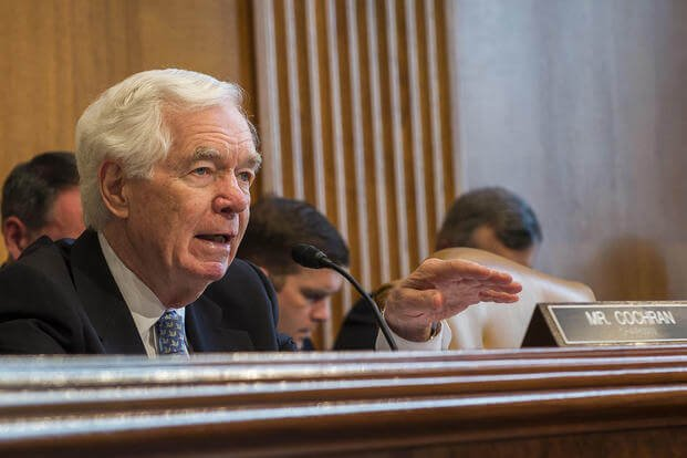 Sen. Thad Cochran, R-Miss., Chairman, Senate Appropriations Committee, Subcommittee on Defense, asks Chief of the Air Force Reserve Lt. Gen. James Jackson a question during a hearing in Washington, D.C., April 29, 2015. (U.S. Air Force photo/Jim Varhegyi)