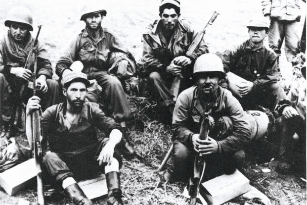 Soldiers of the 65th Infantry Regiment, North of the Han River, Korea, June 1951. (U. S. Army photo)
