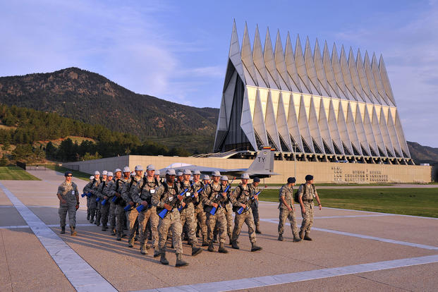 The basic cadet trainees of the U.S. Air Force Academy's Class of 2017 march out to start the field portion of Basic Cadet Training in Colorado Springs, Colo. July 22, 2013. (U.S. Air Force photo/Ray McCoy)