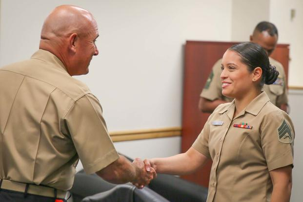 FILE - U.S. Marine Corps Brig. Gen. Austin Renforth, the commanding general of Marine Corps Recruit Depot Parris Island, S.C. meets the Marines of First Marine Corps District in Garden City, N.Y., July 20, 2016. (U.S. Marine Corps/Sgt. Elizabeth Thurston)
