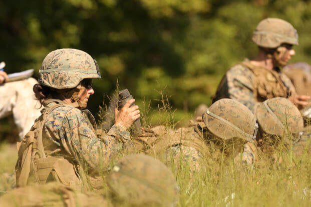 Marines participate in an exercise during the Infantry Officer Course at Quantico, Virginia, Aug. 10, 2017. The first female Marine to complete the course graduated Sept. 25, 2017. (U.S. Marine Corps photo/Master Gunnery Sgt. Chad McMeen)