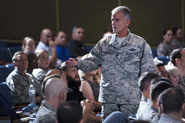 FILE -- Lt. Gen. Jay Silveria, superintendent of the U.S. Air Force Academy, Colo., discusses his goals and priorities to an audience of Total Force Airmen at the Academy, Aug. 17, 2017. (U.S. Air Force photo/ Mike Kaplan)