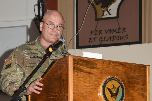 U.S. Army Maj. Gen. Roger Cloutier, Jr. speaks as the guest speaker of the Combined Joint Task Force – Horn of Africa 242nd Army Birthday Ball, at Camp Lemonnier, Djibouti, June 17, 2017. (U.S. Air National Guard photo/Tech. Sgt. Andria Allmond)