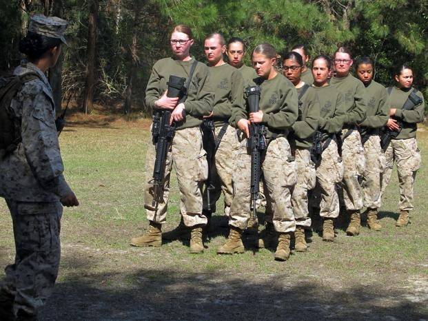 Female recruits form up at the Marine Corps Training Depot on Parris Island, S.C.