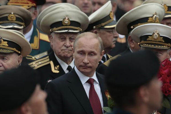 Russian President Vladimir Putin attends a parade marking the Victory Day in Sevastopol, Crimea, Friday, May 9, 2014. (AP Photo/Ivan Sekretarev)