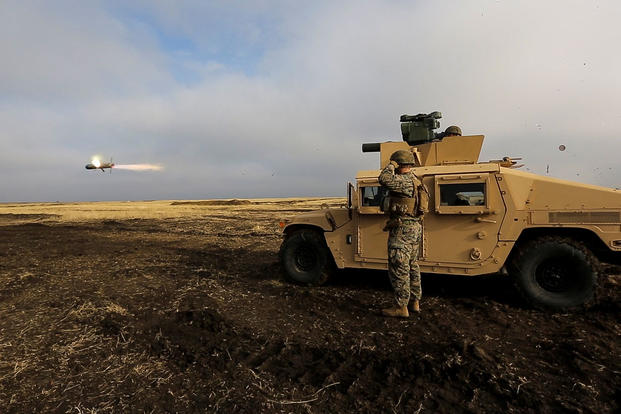 U.S. Marines with Combined Arms Company, Black Sea Rotational Force, fire a HMMWV-mounted BGM-71 Tube-launched, Optically-tracked, Wire-guided anti-tank missile during Platinum Lynx 16-2. (Photo: Lance Cpl. Melanye E. Martinez)