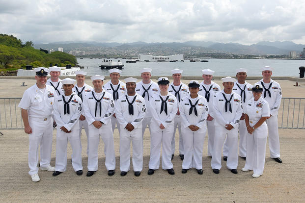 U.S. Pacific Fleet Sea Sailor of the Year (SOY) finalists and Pacific Fleet senior enlisted leaders pose for a group photo in front of the USS Arizona Memorial. (U.S. Navy/MC1 Phillip Pavlovich)
