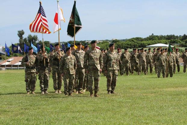 The 1st Battalion, 1st Special Forces Group assembled on Border Landing Zone at Torii Station June 29 for a Change of Command Ceremony that bookmarked the latest chapter in the storied lineage of the unit. (U.S. Army/SFC Manuel Torres Cortes)