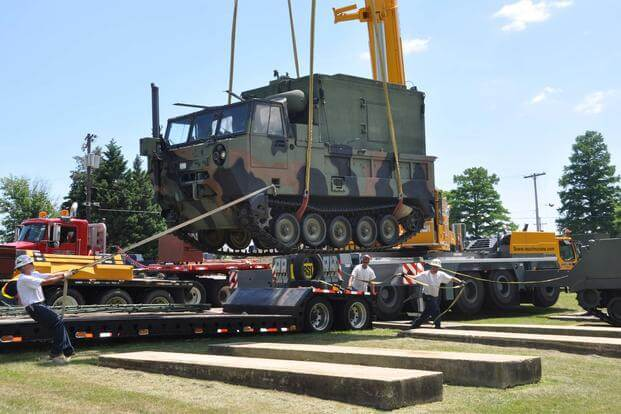 "An AN/MLQ-34 ""TACJAM"" Countermeasure Set being is moved from Fort Monmouth, N.J., to a museum in Aberdeen Proving Ground, Md., July 14, 2011. (Courtesy photo Army.mil)"