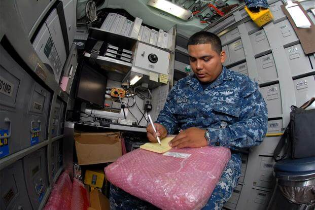 Logistics Specialist 3rd Class David Terrones of Fresno, Calif., conducts a depot level repairable inventory aboard the Los Angeles-class attack submarine USS Helena (SSN 725). (U.S. Navy / Todd A. Schaffer)