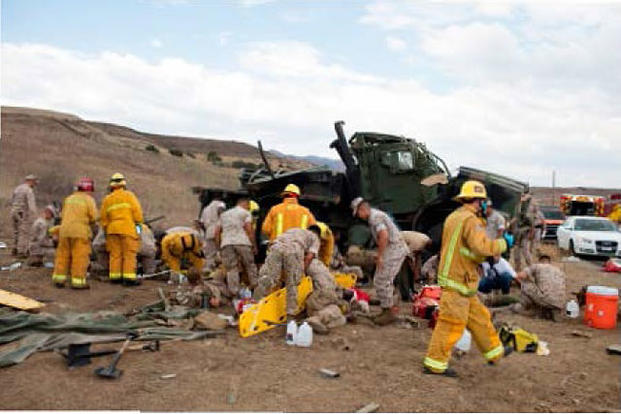 The 7-ton truck rolled multiple times, leaving one Marine dead and 18 injured on Sept. 10, 2015. Photo via Camp Pendleton Police