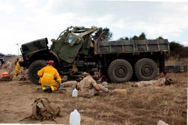 The 7-ton truck, driven by Cpl. Bin Guo, rolled multiple times, leaving one Marine dead and 18 injured at Camp Pendleton, California, on Sept. 10, 2015. Photo via Camp Pendleton Police