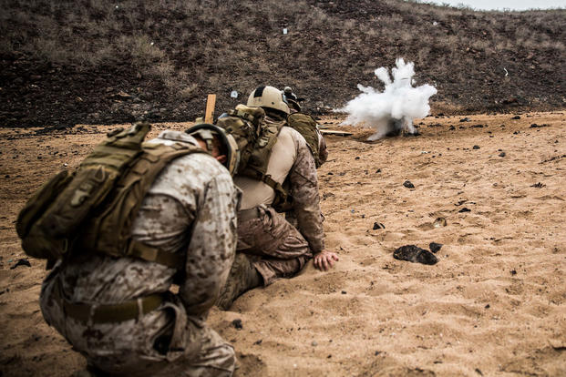 U.S. Marines with the Maritime Raid Force (MRF), 11th Marine Expeditionary Unit, detonate a water charge on a mock-up of a steel door during a demolition range conducted at Arta Beach, Djibouti, Feb. 6. Cpl. Devan K. Gowans/Marine Corps