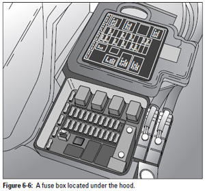 Figure 6-6: A fuse box located under the hood.