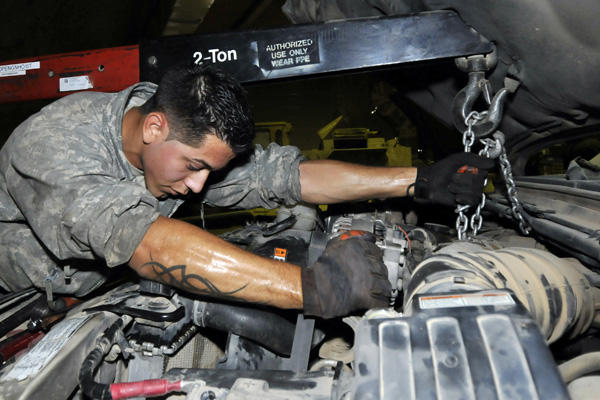 Servicemember auto engine repair.