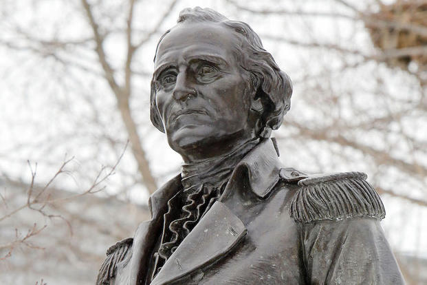 A statue of Gen. John Stark is seen on the Statehouse lawn Thursday Feb. 26, 2015 in Concord, N.H. Stark's Live Free or Die quote grace New Hampshire's license plates, but few outside of New England know who the revolutionary war hero is.