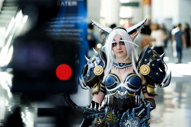 "Ashley O'Neill poses in a ""World of Warcraft"" costume at BilzzCon 2014."
