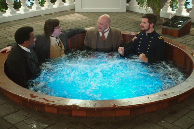 "n this image released by Paramount Pictures/MGM, Craig Robinson, from left, Clark Duke, Rob Corddry and Adam Scott appear in a scene from ""Hot Tub Time Machine 2."" (AP Photo/Paramount Pictures/MGM)"