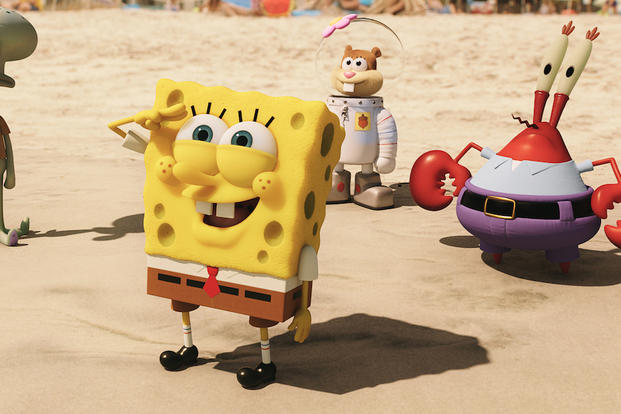 "This image released by Paramount Pictures and Nickelodeon Movies shows characters, from left, SpongeBob SquarePants, Sandy Cheeks, and Mr. Krabs in a scene from ""The Spongebob Movie: Sponge Out of Water."""