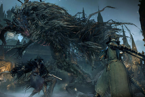 "This photo provided by Sony shows a scene from the video game ""Bloodborne"" (for PlayStation 4, $59.99), in which a hunter battles a mutated tree creature in a haunted Gothic city. (AP Photo/Sony Computer Entertainment America LLC)"