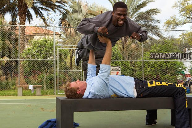 "In this image released by Warner Bros. Entertainment Inc., Kevin Hart, top, and Will Ferrell appear in a scene from ""Get Hard."" (AP Photo/Warner Bros. Entertainment Inc., Patti Perret)"