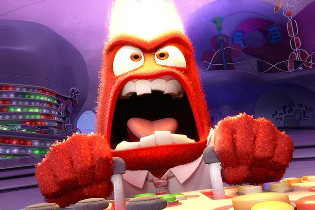 "This photo provided by Disney-Pixar shows, Anger, in a scene from the new animated film, ""Inside Out.""  The movie opens June 19, 2015.  (AP Photo/Copyright Disney-Pixar)"