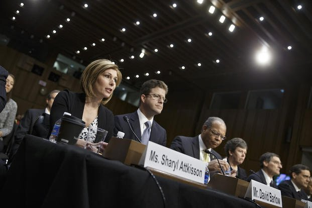 Investigative reporter Sharyl Attkisson, left, and other witnesses appear before the Senate Judiciary Committee, on Capitol Hill in Washington, Thursday, Jan. 29, 2015.