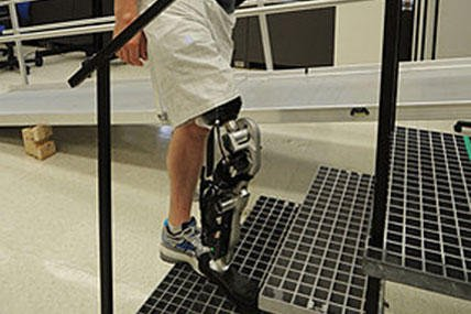 Zac Vowter, a patient in Chicago, is testing the bionic leg that is digitally connected to his nervous system.