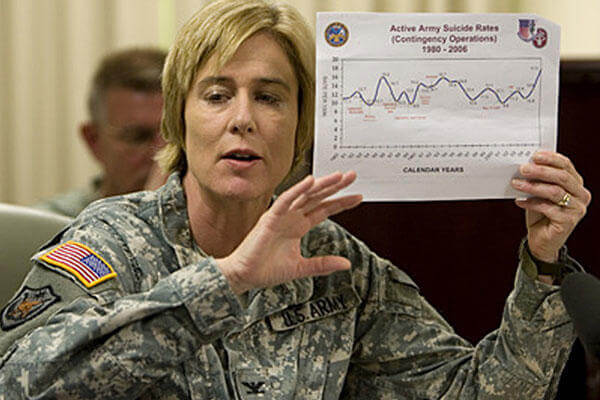 Col. Elspeth Ritchie, a doctor in the Office of the Army Surgeon General, discusses efforts to study and understand suicide among American soldiers in Iraq and Afghanistan, in this May 29, 2008 file photo, during a news conference at the Pentagon.