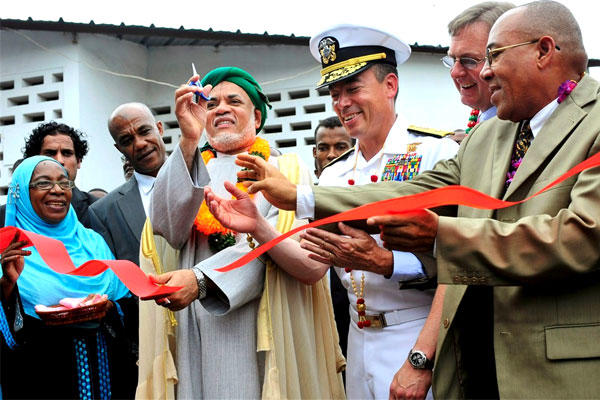 US Navy Rear Admiral Brian L. Losey at a 2010 ribbon-cutting ceremony on the island nation of Comoros in the Indian Ocean. (Navy photo/Joshua Bruns)